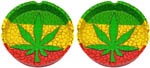 CLOSEOUT: (SET OF 2) Ashtrays: Rasta Leaf