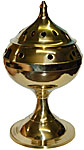 Tall Brass Censer Incense Burner, 7 inch