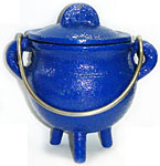 BLUE 3.5 inch Cast Iron Cauldron with Lid