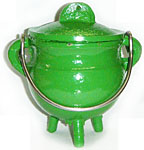 GREEN 3.5 inch Cast Iron Cauldron with Lid