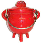 RED 3.5 inch Cast Iron Cauldron with Lid
