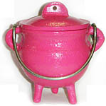 PINK 3.5 inch Cast Iron Cauldron with Lid