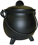 BIG 6.75 Inch Cast Iron Cauldron with Lid, Plain
