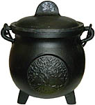 5.5 Inch Cast Iron Cauldron with Lid, Tree of Life