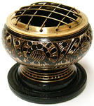 Black and Brass Carved Screen Burner