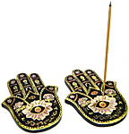 (SET OF 2) Incense Burner: Flat Hamsa Hand Painted #1