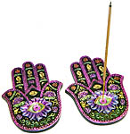 (SET OF 2) Incense Burner: Flat Hamsa Hand Painted #2