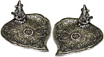 [SET OF 2] Metal Burner: Ganesh on Round Leaf, 4.5 in.