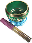 GREEN Tibetan Singing Bowl, 4 inch wide