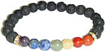 Bracelet: Seven Chakra Gems with Lava Beads