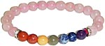 Bracelet: Seven Chakra Gems with Rose Quartz