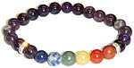 Bracelet: Seven Chakra Gems with Amethyst (NEW)