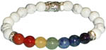 Bracelet: Howlite, Seven Chakras, and Buddha (NEW)
