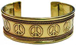 Copper Bracelet: Peace Signs