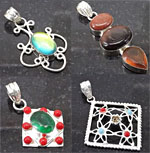 Wholesale Lot of 3 Assorted Pendants, Sterling Silver Plated