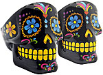 [SET OF 2] Ashtray: Black Sugar Skull, 4 inch