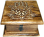 Wood Box: Hamsa Hand Lotus, 6x6 inch