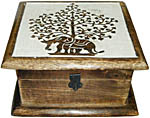 Wood Box: Elephant Tree of Life 7x7 inch (NEW)