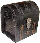 Wood Box: Black Pentagram Chest, 7.5 in tall