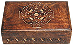 Wood Box: Celtic Cross carved, 4x6 inch