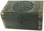 Wood Box: Triple Pentagram with latch, 8x5 inches
