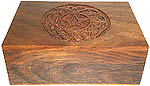 Wood Box: Pentagram carving, 4x6 inch