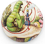Button: The Caterpillar vintage print, 1.25 inch