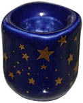 Chime Candle Holder - Blue Ceramic with Gold Stars