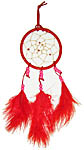 Dream Catcher: Red with red feathers, 11 inch