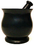 Mortar & Pestle, Soapstone: Shiny Black, tall