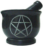 Mortar & Pestle, Soapstone: Pentagram Black