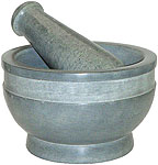 Mortar & Pestle: Gray Stone with Band