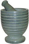 Mortar & Pestle: Gray Stone with Stripes