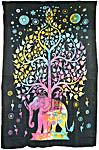 Twin Size Tapestry: Elephant Tree, Tie Dye