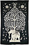 Twin Size Tapestry: Elephant Tree, Black-White