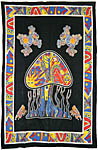 Twin Size Tapestry: Mushroom and Frogs