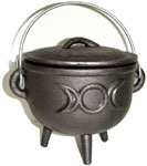 GREY 4.5 inch Cauldron with Lid, Moon