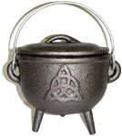 GREY 4.5 inch Cauldron with Lid, Triquetra