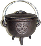 GREY 4.5 inch Cauldron with Lid, Pentagram
