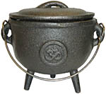 GREY 4.5 inch Cauldron with Lid, Om