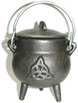 GREY 3.5 inch Cauldron with Lid, Triquetra