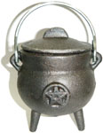 GREY 3.5 inch Cauldron with Lid, Pentagram