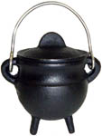 BLACK 3.5 inch Cauldron with Lid, Plain