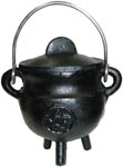 BLACK 3.5 inch Cauldron with Lid, Pentagram