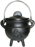 BLACK 3.5 inch Cauldron with Lid, Triquetra
