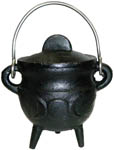 BLACK 3.5 inch Cauldron with Lid, Moon