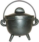 BLACK 4.5 Inch Cauldron with Lid, Plain