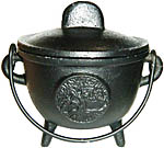BLACK 4.5 inch Cauldron with Lid, Tree of Life