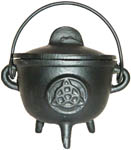 BLACK 4.5 Inch Cauldron with Lid, Triquetra